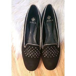 Isola Risa Black Embellished Suede Flats Loafer 8